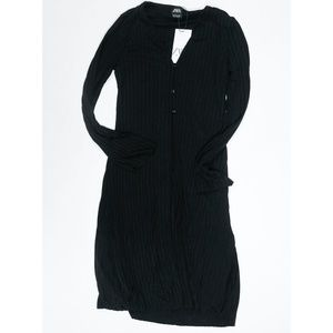 Zara Ribbed Knit Stretch Button Duster Cardigan S